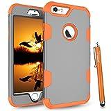 new iphone 6 plus protective case - iPhone 6S Plus Case, iPhone 6 Plus Case, Cattech [Three Layer] [High Impact Resistant] [Hybrid Shockproof] [Full-Body / Heavy Duty Protective] Cover Case for iPhone 6/6S Plus + Stylus (Grey / Orange)