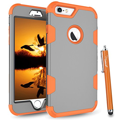 Cattech for iPhone 6S Case, iPhone 6 Case, Three Layer Hybrid High Impact Resistant Shockproof Full-Body / Heavy Duty Protective Cover Case for Apple iPhone 6/6S [4.7 inch] + Stylus (Grey / Orange)