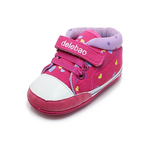 Delebao Baby Girls Lace up Antiskid Rubber Sole Sneakers Prewalker Shoes (12-18 Months) Heart Sole Sneakers