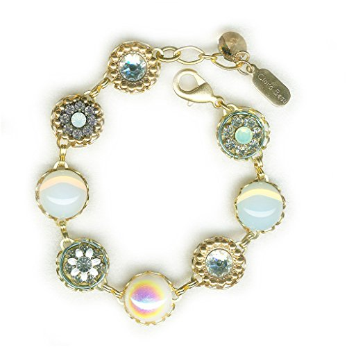 (Clara Beau Classy WhiteOpal GoldTone Swarovski crystal Filigree Cluster Bracelet BF148)