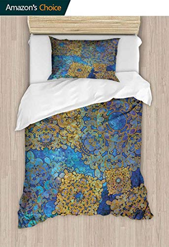 (CheeryHome Kids Quilt 2 Piece Bedding Set, Traditional Persian Motif Oriental Moroccan Effects Exotic Style Boho Design, Bedding Sets,1 Duvet Cover,1 Pillowcase,79 W x 90 L Inches, Light Coffee Blue )