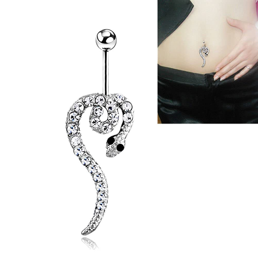 Amazon Com Deley Clear Paved Snake Dangle Belly Button Ring Body
