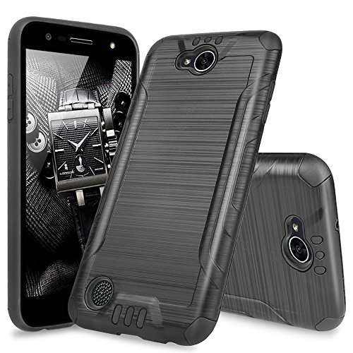 LG X Power 2 M320 Case, LG Fiesta LTE Case, LG X Charge Case, LG Fiesta 2 Case, TJS Dual Layer Hybrid Shockproof Impact Resist Rugged Case Cover Metallic Brush - Access Case Metallic Lte Lg