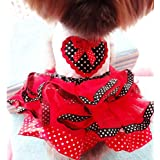 New Pet Cat Dog Tutu Princess Dress Clothes for Dogs Love Heart Bowknot Summer Skirt Wedding Dresses for Dogs (Red, S)