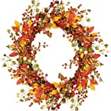 Worth Imports Fall Berry Wreath with Foliage, 18''