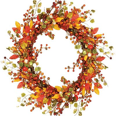 Worth Imports Fall Berry Wreath with Foliage, 18