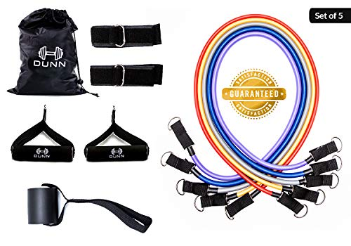 Resistance Bands by Dunnfit Products - 11 Piece Set Portable