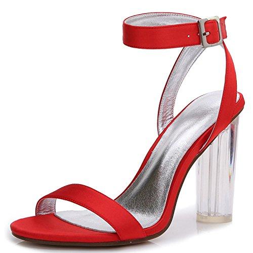 Elegant high shoes Zapatos De Boda De Las Mujeres De Cristal áSpero Con D-2615-14 Primavera Verano Satinado Nupcial Peep Toe & Night Oficina Y Carreras Red