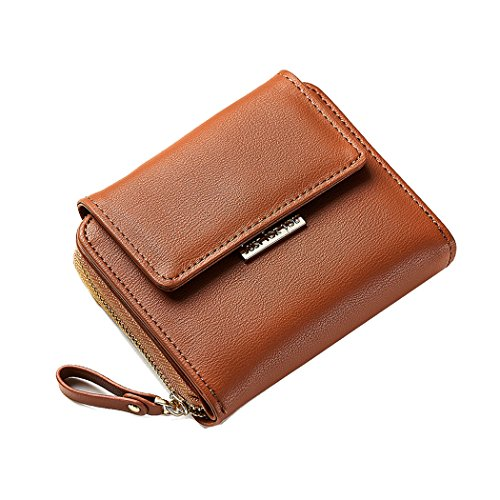 Small Compact Bifold Leather Pocket Purse Coin Card Case Designer Sleeve Cute Clutch Zipper Pocket Mochabrown