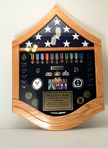 Flag Case Shadow Box Military - SMSgt Senior Master Sergeant Airforce (3X5' Flag, Walnut)