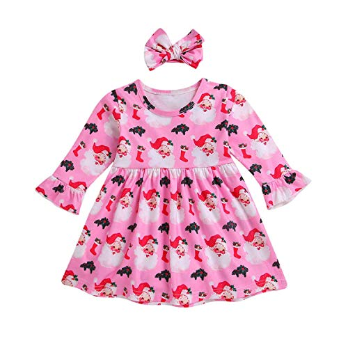 INHoney Baby Girl Christmas Dress Santa Dress for Toddler (18-24 Months, Pink -