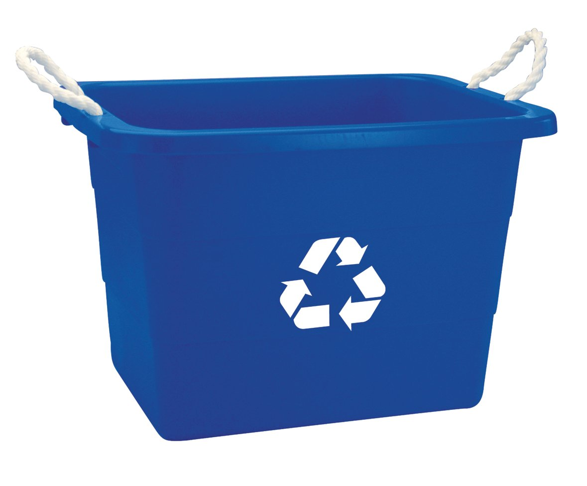 United Solutions EcoSense TU0105 Blue Nineteen Gallon Rough and Rugged Recycling Tub with Rope Handles -19 Gallon Rope Handled Recycling Bin in Blue