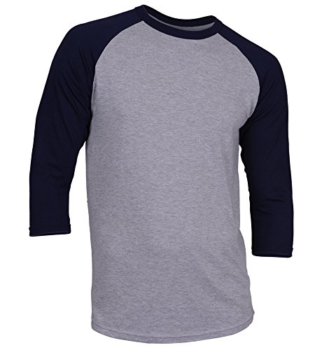 DREAM USA Men's Casual 3/4 Sleeve Baseball Tshirt Raglan Jersey Shirt H Gray/N Blue Small ()