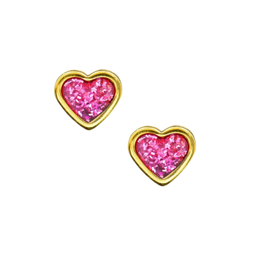 Studex Sensitive 6mm Heart with Pink Glitter Centre Gold Plated Stud Earrings