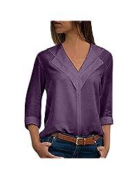 kingf Womens V Neck Chiffon Long Sleeve Blouse Solid Color Casual Tops Shirts