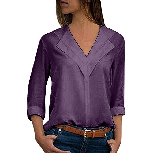 2018 Fashion in Londony ♥‿♥ Womens Casual V Neck Roll-up Long Sleeve Solid Color Chiffon Blouse Tops Purple