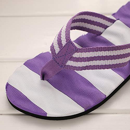 Stripe Toe Violet Clip ZHRUI coloré Taille pour d'été EU Chaussures Beach Violet Plates Femmes 38 BqZxwaxUE