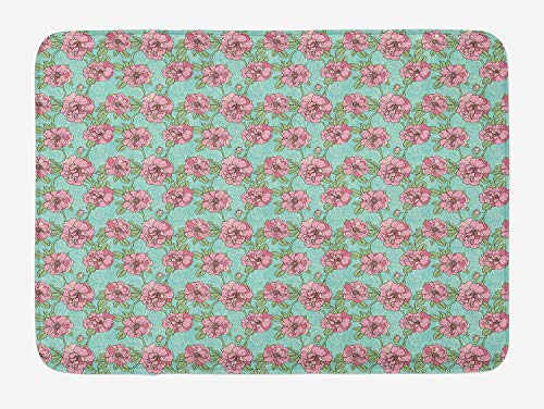 - Floral Bath Mat, Hand Drawn Style Multi Petal Flowers with Lacy Leaves on Green Twigs, Plush Bathroom Decor Mat with Non Slip Backing, 23.6 W X 15.7 W Inches, Turquoise Dried Rose Mint