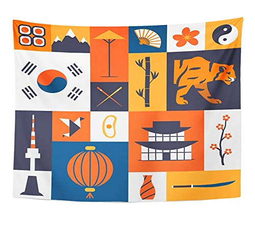 (Emvency Tapestry Artwork Wall Hanging South Korea Korean Cultural Symbols of Flat Traditional Cuisine and Nature 60x80 Inches Tapestries Mattress Tablecloth Curtain Home Decor Print)