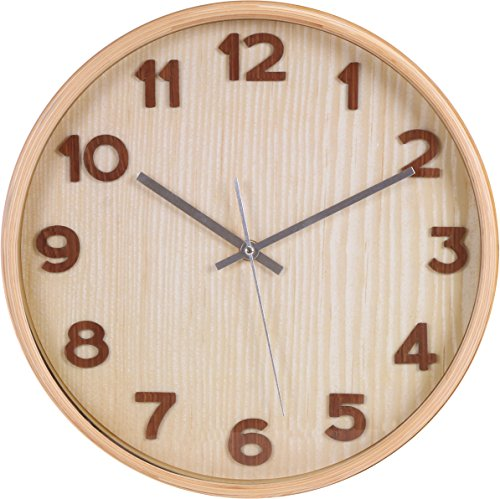 Utopia Home Large Decorative Wall Clock - Universal Non-Ticking Wall Clock (Natural Brown)