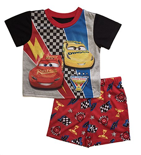 Disney Cars 3 Little Boys Toddler Poly Short Pajama Set (4T, Red) Cars Pajamas Pjs