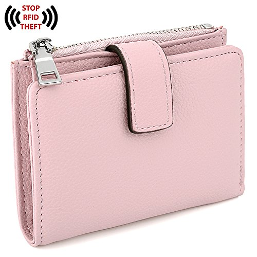 UTO Women's RFID Blocking PU Leather Wallet Card Holder Organizer Girls Small Cute Coin Purse with Snap Closure A Pink by UTO
