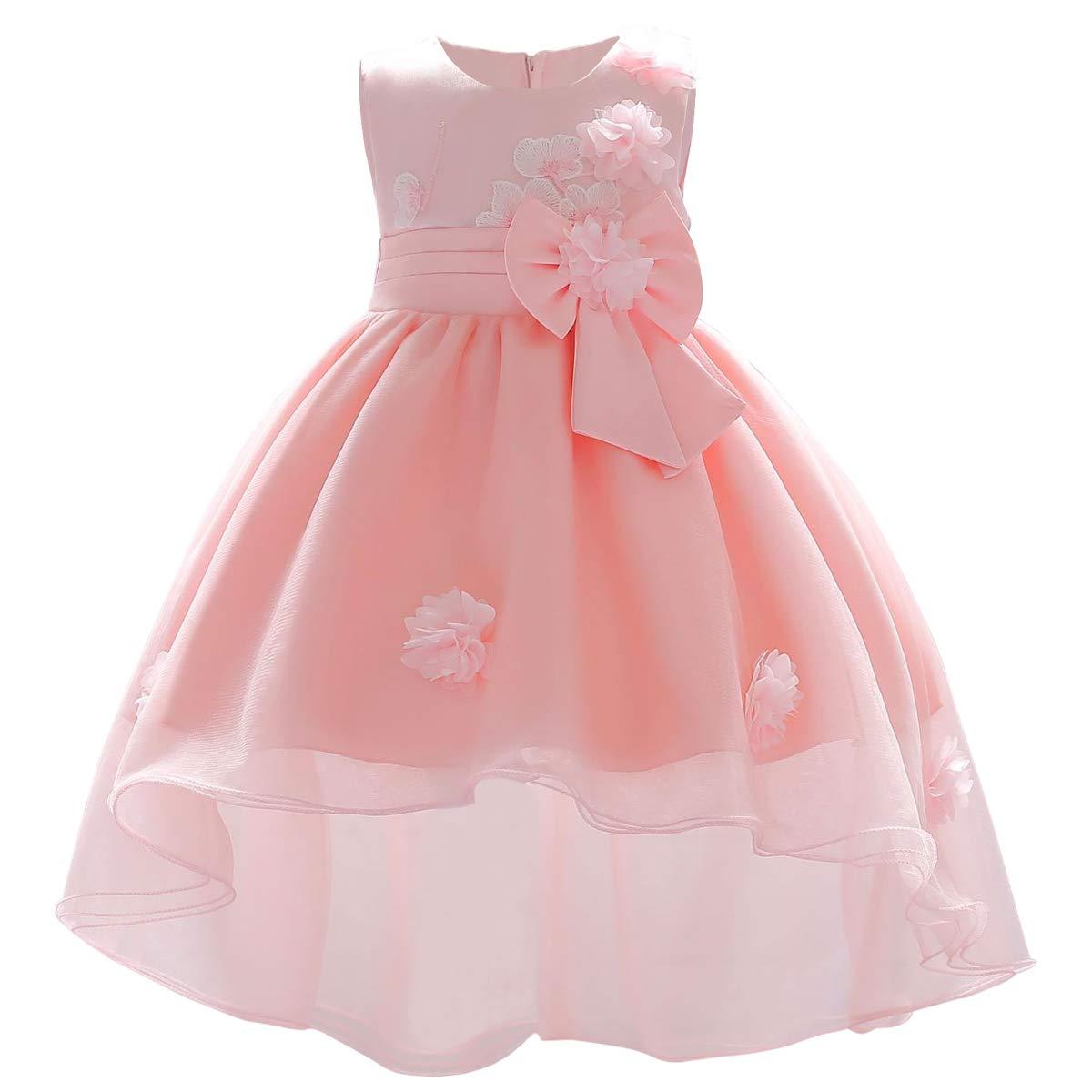 OBEEII Baby Girl Flower Applique Tutu High Low Dress First Communion Christening