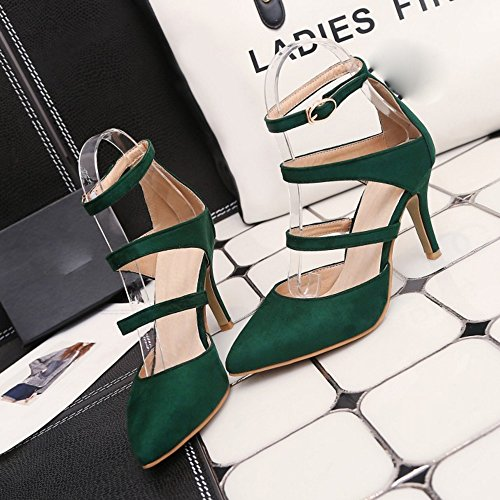 COOLCEPT Mujer Moda Al Tobillo Sandalias Cerrado Tacon de Aguja Zapatos Verde