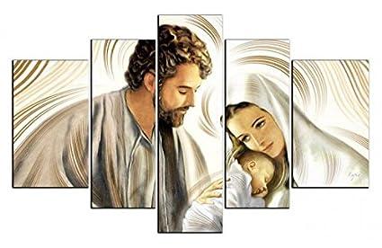 Quadro Sacra Famiglia Moderno.Deco Italia Quadro Sacro Moderno Su 5 Pannelli In Tela Capezzale Sacra Famiglia Nativita 150 X 100 Cm