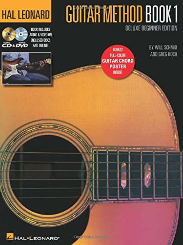 - Hal Leonard Guitar Method - Book 1, Deluxe Beginner Edition: Includes Audio & Video on Discs and Online Plus Guitar Chord Poster