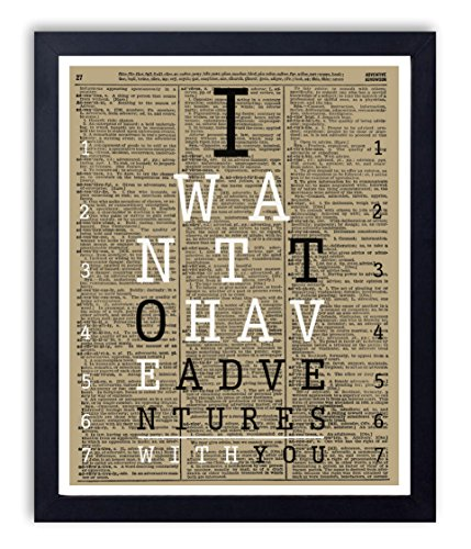 Adventures Eye Chart Typography Quote Art Print Reproduction Vintage Dictionary Art Print 11 x 14 Inch- Unframed Chart Dictionary