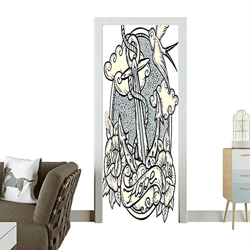 Homesonne Decorative Door Decal and ROS Antique ochrome Clouds Wings Old Style Sketching Stick The Picture on The doorW23.6 x H78.7 -