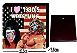 I Love 1980's Wrestling American Flag Fan Art Small Boxed Square Canvas Art Wall Decoration Picture 8' x 8'