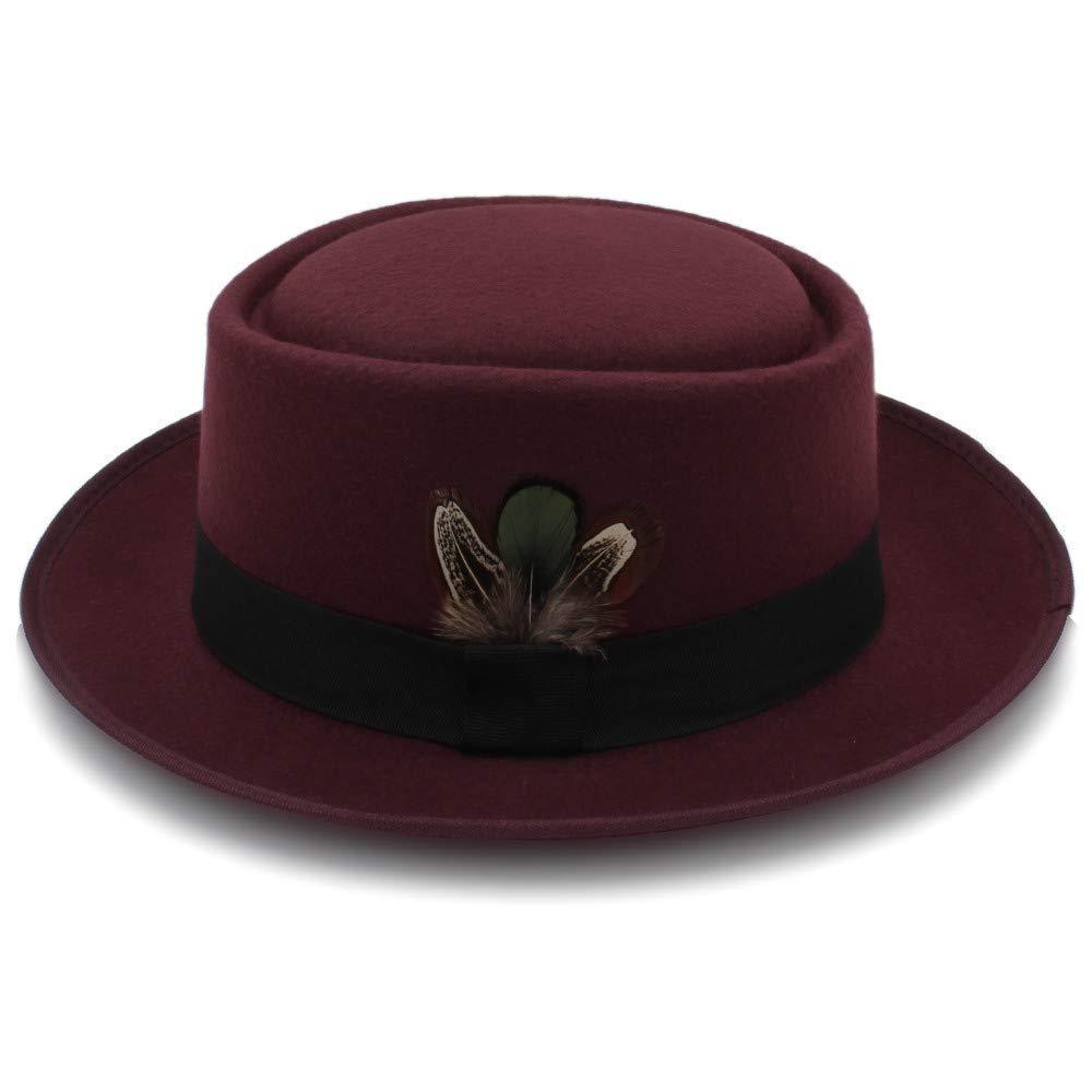 Classic Wool Felt Black Pork Pie Hat Porkpie Jazz Fedora Hat Round Top Trilby Stingy Brim Feather Cap Very Soft