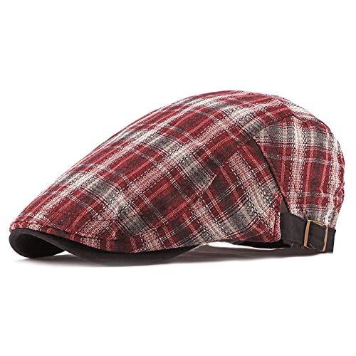 ZLSLZ Mens Womens Adjustable Plaid Newsboy Cabbie Gatsby Golf Beret Hat Cap 282Red