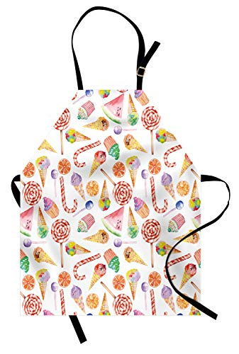 Ambesonne Colorful Apron, Ice Cream Candy Cakes Lollipop Clementine Fruits Birthday Celebration Pattern, Unisex Kitchen Bib with Adjustable Neck for Cooking Gardening, Adult Size, Pink Green