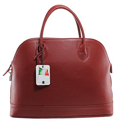 CTM Borsa Donna Classica Elegante, 40x30x15cm, Vera Pelle 100% Made in Italy Rosso