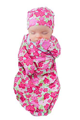 Baby Be Mine Newborn Gown and Hat Set Layette Romper Coming Home Outfit (Newborn, Brooke) -