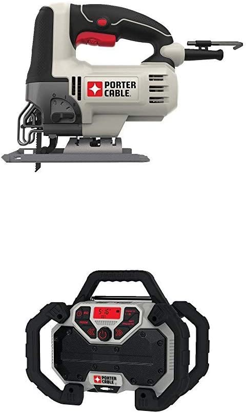 PORTER-CABLE PCE345 6-Amp Orbital Jig Saw with PCCR701B 20V MAX Jobsite Radio Charger Corded Cordless