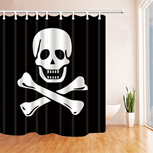 NYMB Pirate Flag Bath Curtain, Polyester Fabric Waterproof Shower Curtain, 69X70 in, Shower Curtains Hooks Included, Black White(Multi11) (Pirate Fabric Flag)