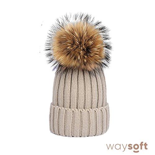 d4d6a627843 WaySoft Mother-Child Matching Genuine Fur Pom Pom Beanie – Pom Pom Hat with  Genuine