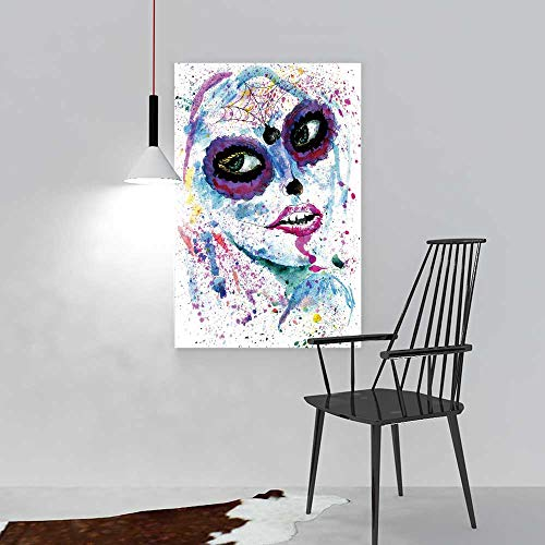 aolankaili Painting Living Room Decoration Frameless Halloween Girl with Sugar Skull Makeup Watercolor Painting for Living Room Office Decor Gift W16 x H24]()