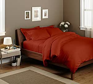 Bedding Spa 800 Thread Count Pima Cotton Duvet Cover With Flat Sheet Solid (Queen, Tomato Red)
