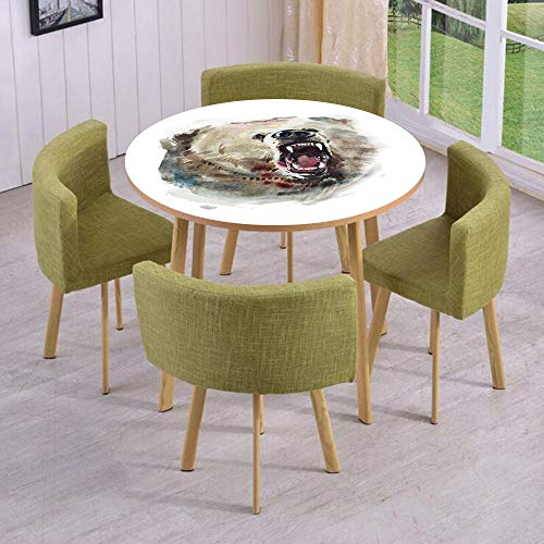 iPrint Round Table/Wall/Floor Decal Strikers/Removable/Watercolor Drawing Style Angry Looking Wild Animal Aggressive Vicious Growl Fangs Decorative/for Living Room/Kitchens/Office Decoration