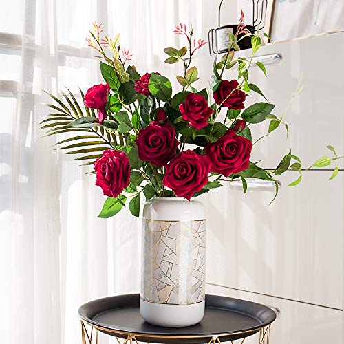 YUYAO Artificial Rose Flowers with Greenery Plant Fake Silk Flannelette Craft Rose in Vase for Home Wedding Patio Table Decoration -