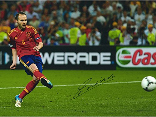 """Andres Iniesta Spain Autographed 12"""" x 16"""" Penalty Shot Photograph - Fanatics Authentic Certified - Autographed Soccer Photos"""