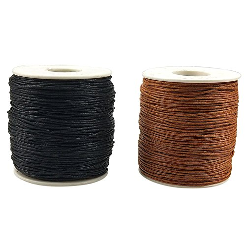 CSPRING 2 Rolls of 1mm 218 Yards Waxed Cotton Cord Thread String for Jewelry Making Beading Crafting by ()