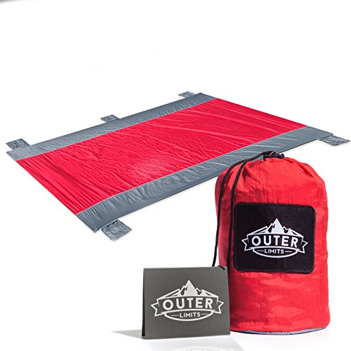 Outer Limits Travel Blanket - Picnic Blanket - Beach Blanket - Compact Water Resistant Sand Free 7' x 9' Oversized Nylon Outdoor Blankets with 4 Stakes Lightweight Portable Camping - Sunglasses Limit