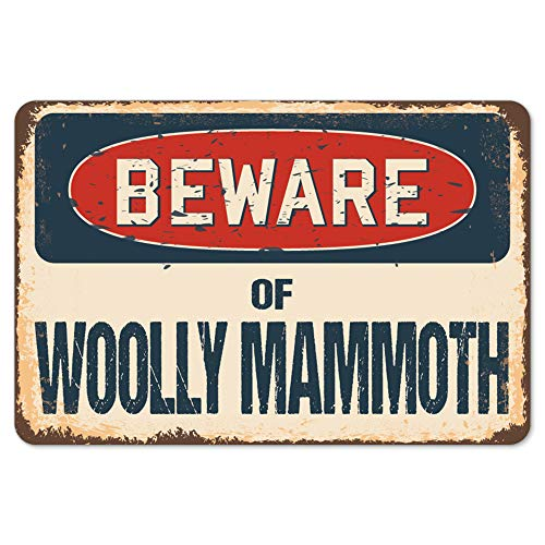 Beware of Woolly Mammoth Rustic Sign | Rustic, Distressed Vintage Look | Choose from: Aluminum, Rigid Plastic or Decal Sticker | Indoor/Outdoor | Funny Home Décor for Garages, Living Rooms, Bedrooms