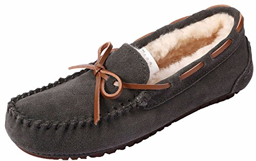 U-lite Womens Slipper In Lana Pelliccia Casual Flat Indoor & Outdoor Mocassino Slip-on, Mocassino Pantofole Per Donna Darkgrey (pelle Di Cinghiale Scamosciata)